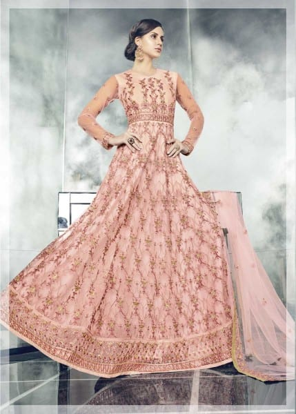 Stunning Pink Color Heavy Dull Mono Net Gown With Koti With Lehenga 30004 D