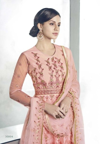 Stunning Pink Color Heavy Dull Mono Net Gown With Koti With Lehenga 30004 E
