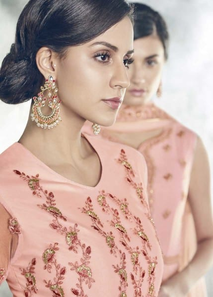 Stunning Pink Color Heavy Dull Mono Net Gown With Koti With Lehenga 30004 F