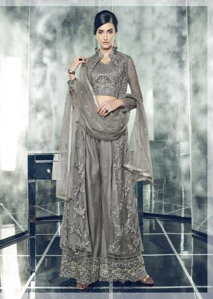 Fancy Schooner Color Party Wear Heavy Dull Mono Net Gown With Koti With Lehenga 30005