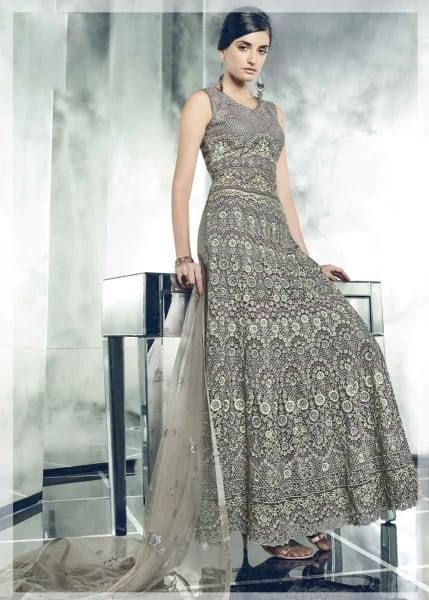 Fancy Schooner Color Party Wear Heavy Dull Mono Net Gown With Koti With Lehenga 30005 B