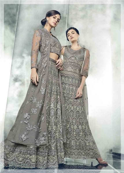 Fancy Schooner Color Party Wear Heavy Dull Mono Net Gown With Koti With Lehenga 30005 G
