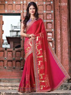 Hoty Red and Pink Color Printed Dual Two Tone Silk Saree 12303