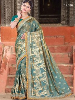 Turquoise Blue and Grey Color Human Picture Printed Dual Two Tone Silk Saree 12306