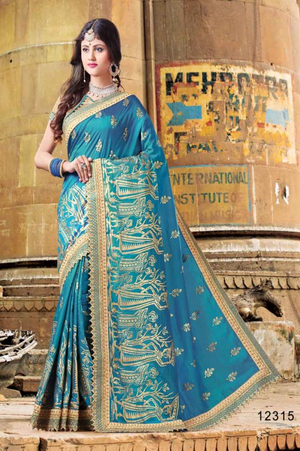 Owesome Bordered Cobalt Blue Dual Two Tone Silk Saree 12315