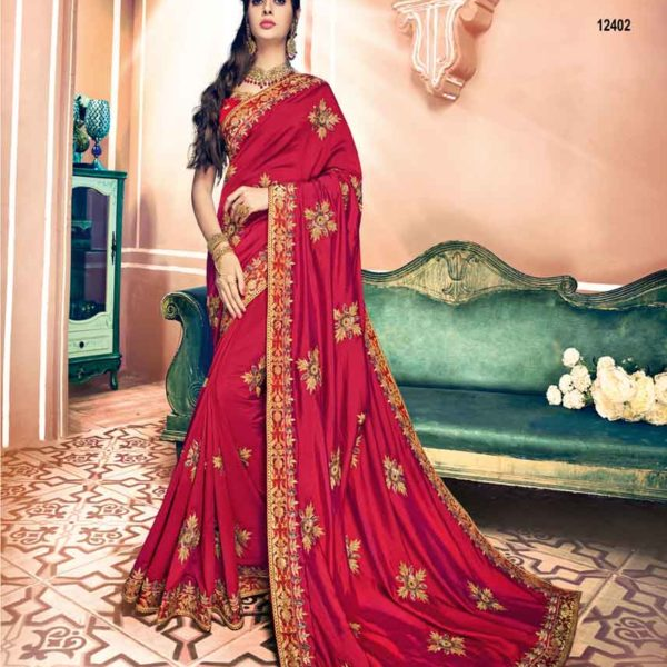 Hot Garnet Red Color Dual Two Tone Silk Party Wear Saree 12402