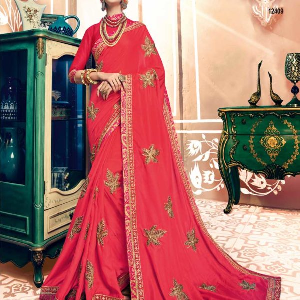 Designer Vermillon Red Dual Tone Silk Wedding Wear Saree 12409