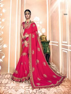 Hot carmine Pink Dual Tone Silk Heavy Work Saree 12410