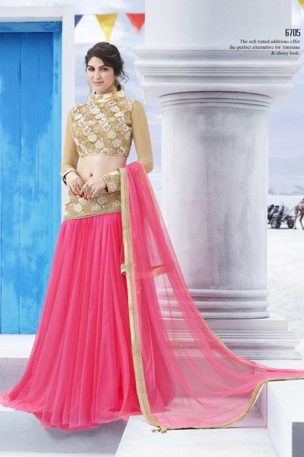 Stylish Pink and Golden Color Party Wear Lehenga Choli 6705