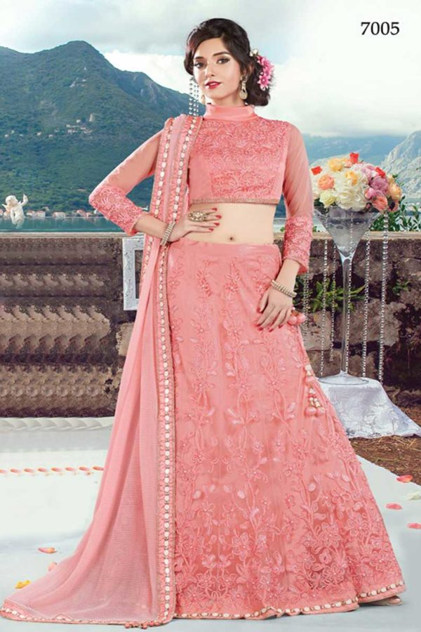 Beautiful Pink Color Floral Embrodered Lehenga Choli 7005