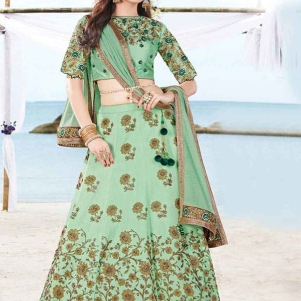 Latest Surf Color Floral Embrodered Wedding Wear Lehenga 7009