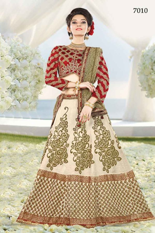 Adorable Maroon and Beige Color Wedding Wear Lehenga 7010