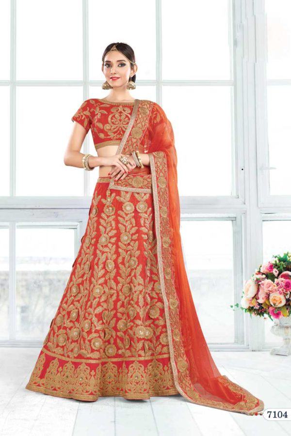 Bridal Wear Orange Color Raw Silk Fancy Lehenga Choli 7104