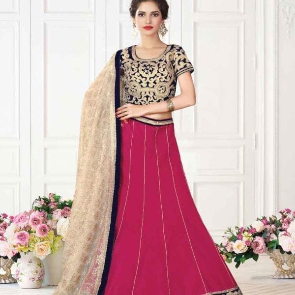ExclusivePink Color Embrodered Raw Silk Wedding Wear Lehenga 7108