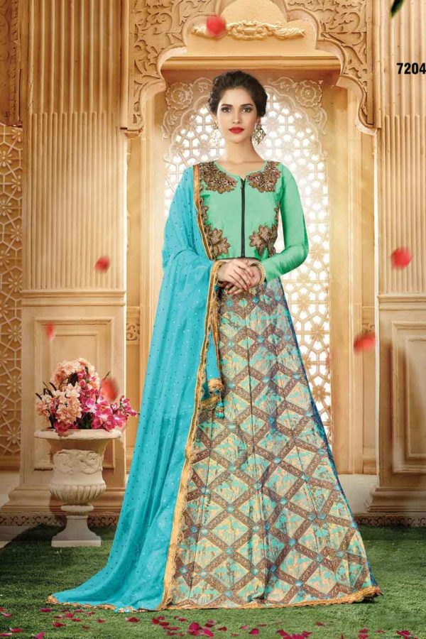 Beautiful Aqua Blue Color Wedding Wear Jacquard Silk Lehenga 7204