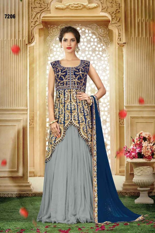Fanciful Dove Grey Color Heavy Work Chiffon Lehenga Choli 7206