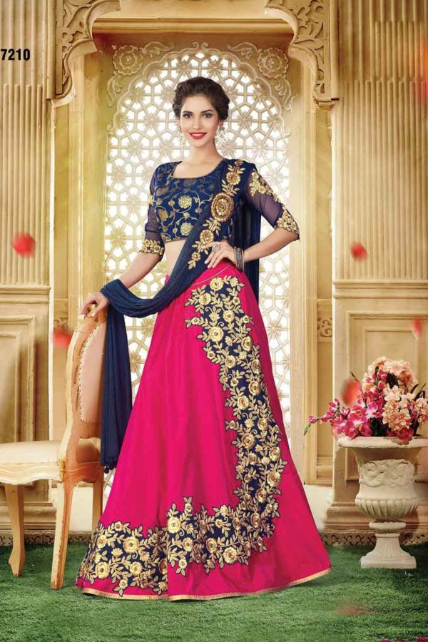 Designer Bright Pink Color Floral Embrodered Dual Tone Silk Lehenga 7210