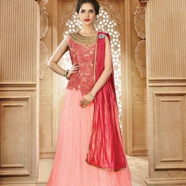 Fancy Peach And Pink Color Heavy Work Net Lehenga 7212