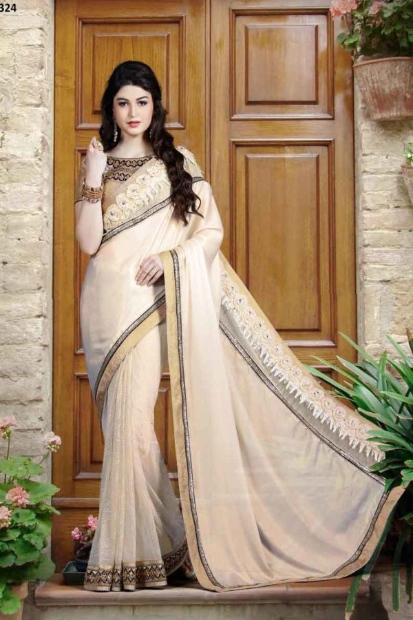Designer Cream Color Satin Chiffon and Net Party Wear Saree 9324