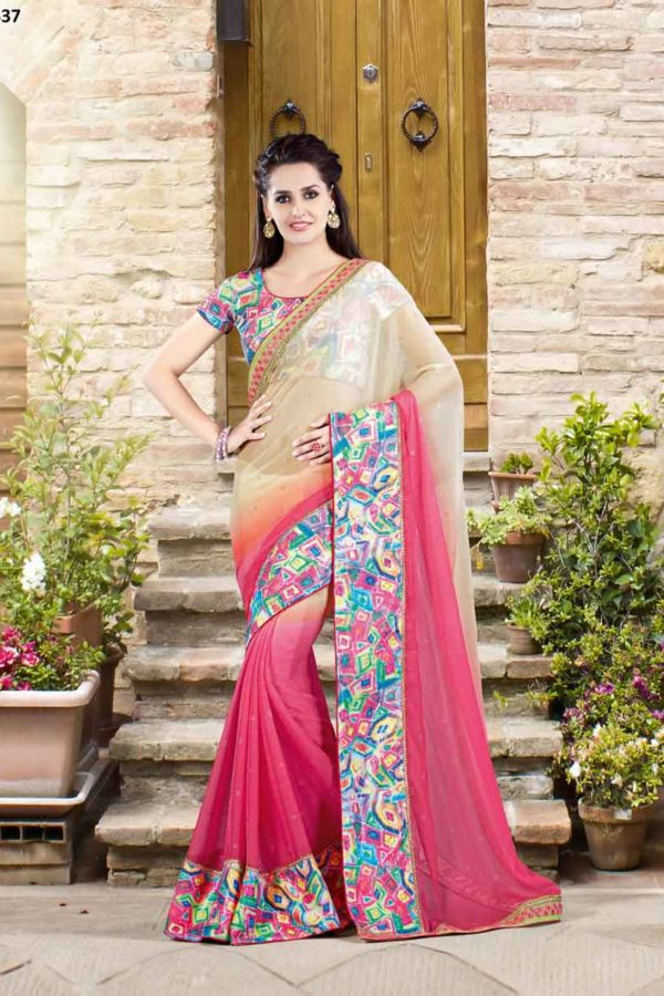 Bordered Chiffon Party Wear Saree 9337