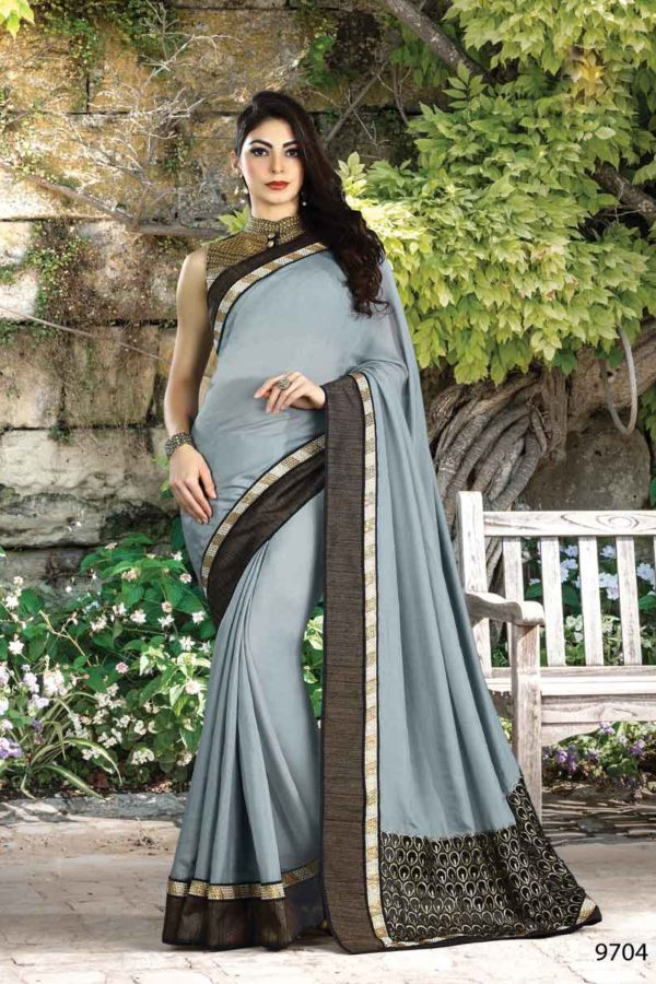 Stunning Dove Grey Color Shimmer Fabric Party Wear Saree 9704