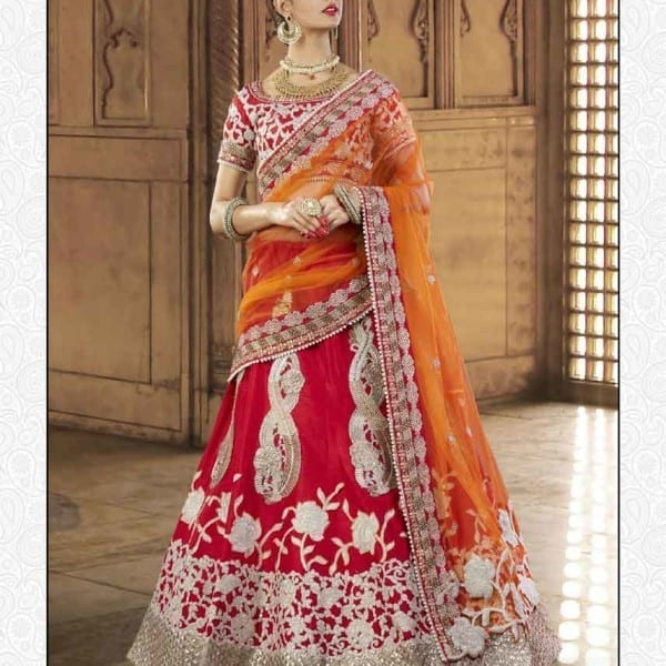 Exclusive Scarlet Red Heavy Embrodered Wedding Wear Lehenga N-113