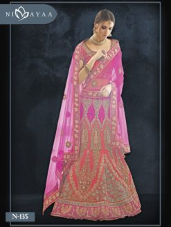 Pink and Orange Color Heavy Embrodered Wedding Wear Lehenga N-135