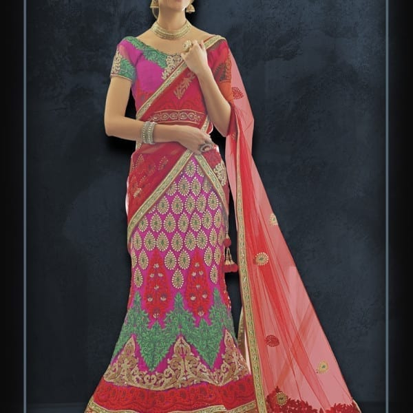 Heavy Work Red and Pink Color Designer Wedding Wear Lehenga N-137