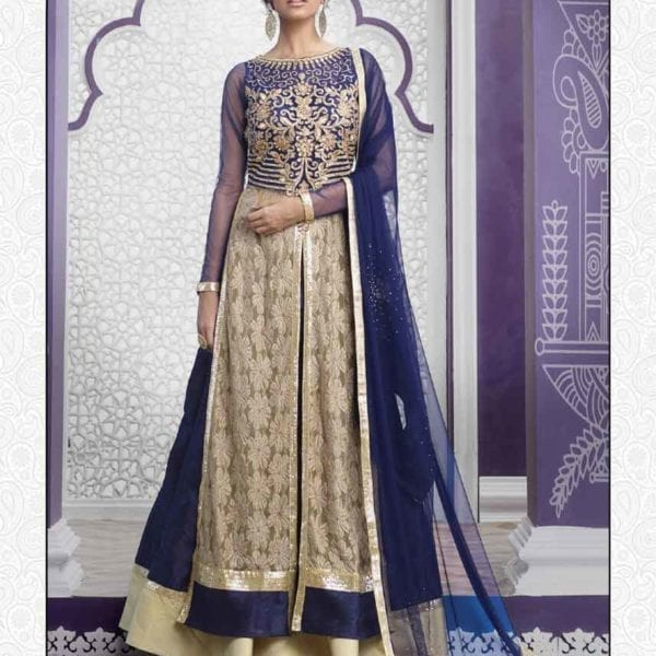 Navy Blue Color Heavy Work Raw Silk Sarara N-505