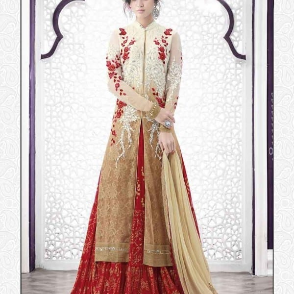 Adorable Red Color Embrodered Chiffon Lehenga N-510