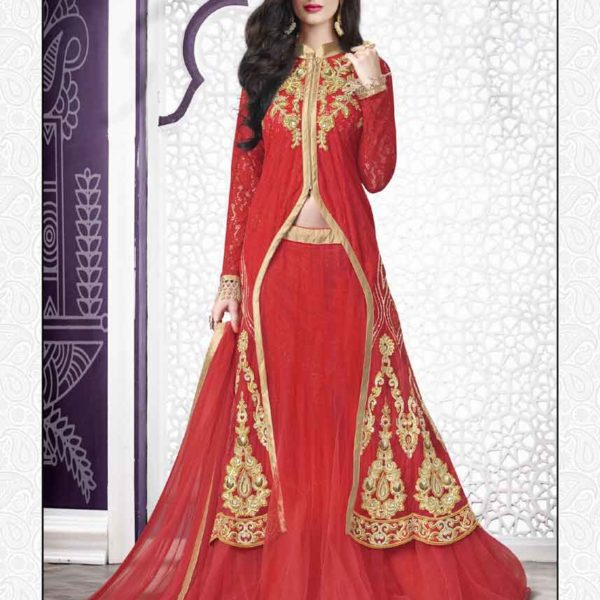 Hot Red Color Embrodered Net Pakistani Style Lehenga Choli N-512