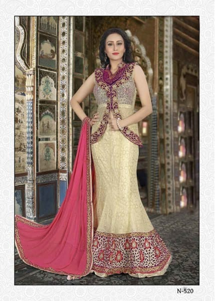 Amazing Cream Color Fancy Net Wedding Wear Lehenga N-520