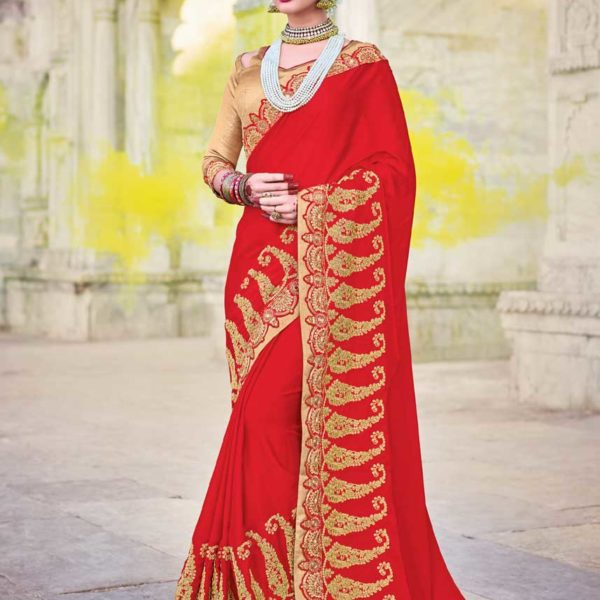 Hot Red Color Moss Chiffon Party Wear Saree 21243