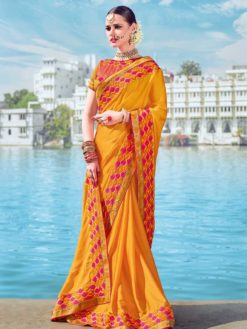 Majestic Yellow Color Two Tone Bright Georgette Saree 21245
