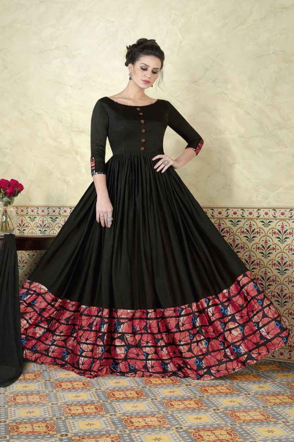Rich Black Color Modal Satin Floor Length Party Wear Anarkali Suit 5301