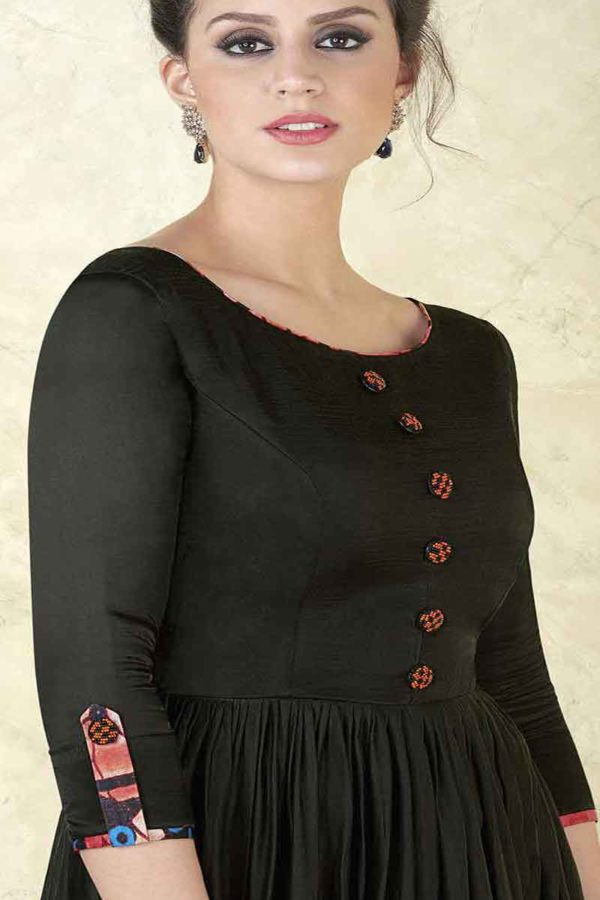 Rich Black Color Modal Satin Floor Length Party Wear Anarkali Suit 5301 C