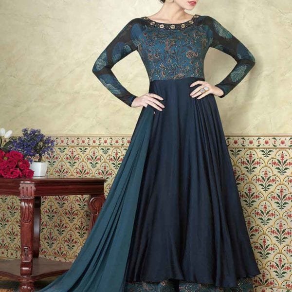 Dark Blue Color Tussar Cotton Muslin Floor Length Anarkali Suit 5302