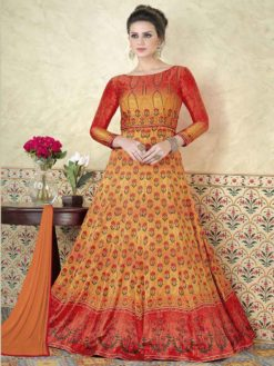 Exclusive Orange Color Modal Satin Floor Length Anarkali Suit 5305