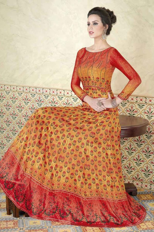 Exclusive Orange Color Modal Satin Floor Length Anarkali Suit 5305 C