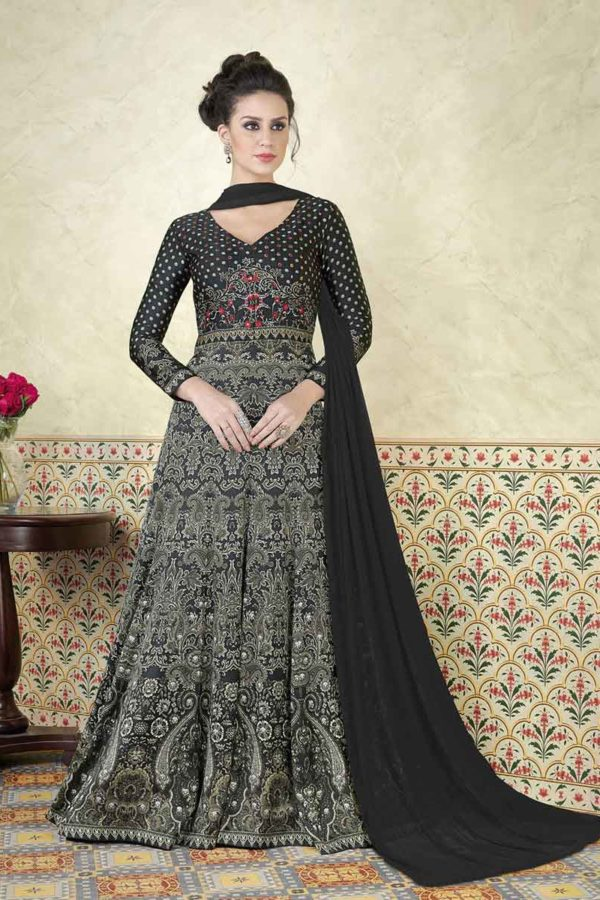 Black Color Modal Satin Printed Floor Length Anarkali Suit 5307