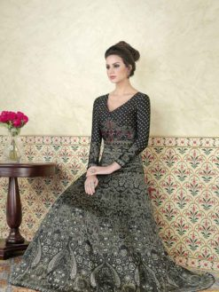 Black Color Modal Satin Printed Floor Length Anarkali Suit 5307 C