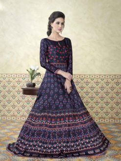 Stylish Modal Satin Printed Party Wear Floor Length Anarkali Suit 5308 C