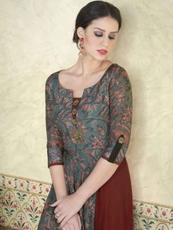 Adorable Grey Color Printed Tussar Silk Party Wear Salwar Kameez 5309 A