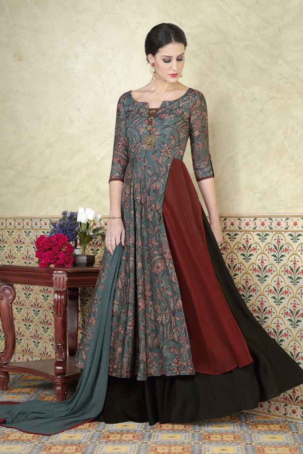 Adorable Grey Color Printed Tussar Silk Party Wear Salwar Kameez 5309