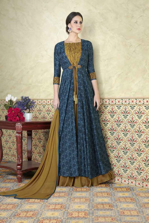 Unique Husk and Blue Color Tussar Silk Printed Salwar Kameez 5310