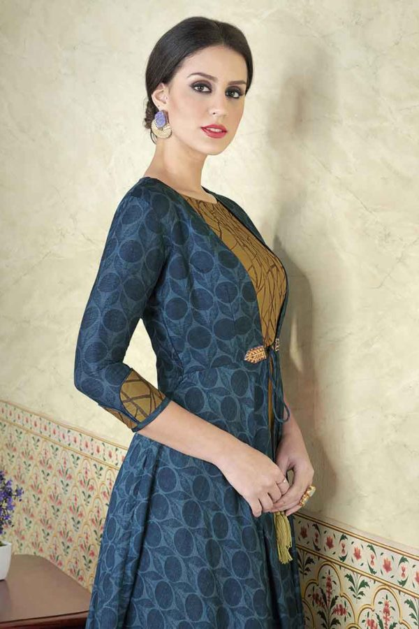 Unique Husk and Blue Color Tussar Silk Printed Salwar Kameez5310 A
