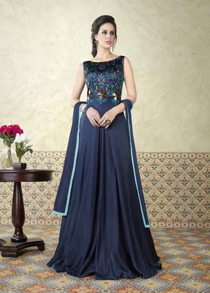 Fanciful Royal Blue Color Modal Satin Party Wear Anarkali Suit 5311