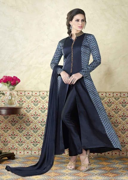 Majestic Ebony Clay Color Modal Satin Party Wear Anarkali Suit 5312