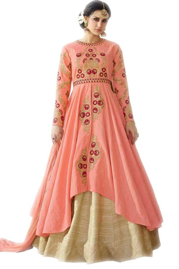 Stylish Peach Color Embrodered Party Wear Salwar Kameez 11604