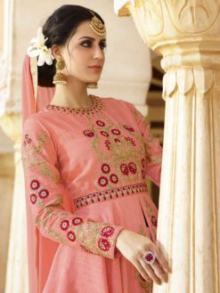 Stylish Peach Color Embrodered Party Wear Salwar Kameez 11604 C